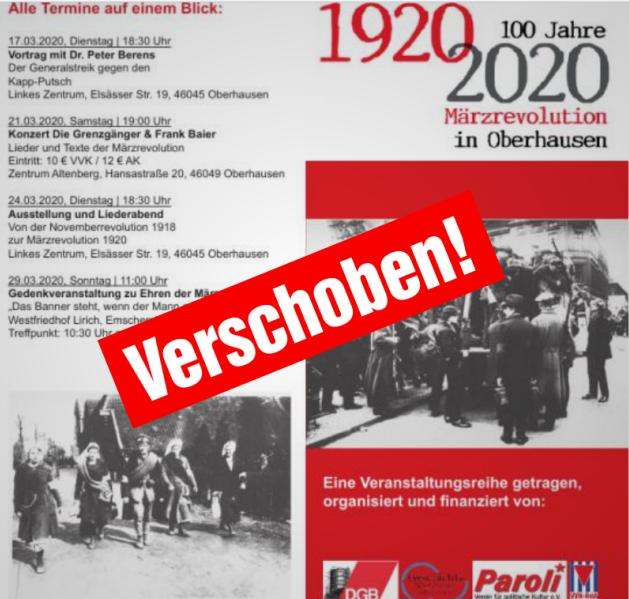 """Veranstaltungsreihe """"100 Jahre Märzrevolution in Oberhausen"""" verschoben"""