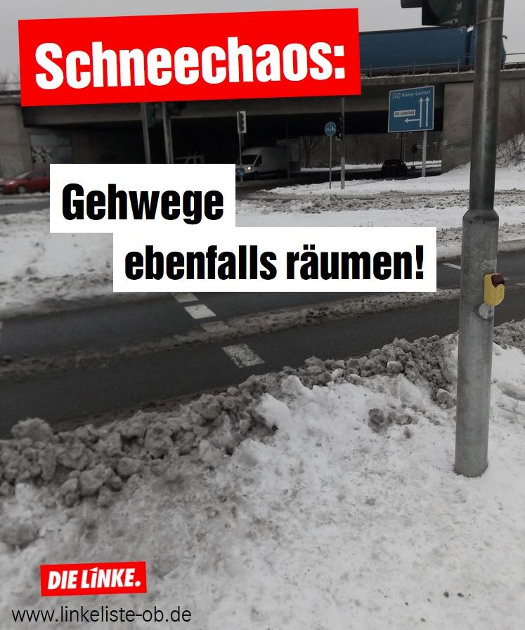 Schneechaos: Gehwege ebenfalls räumen!