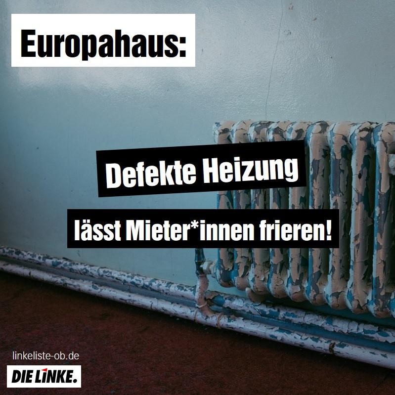 Europahaus: Defekte Heizung lässt Mieter*innen frieren