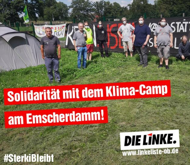 DIE LINKE.LISTE vor Ort: Solidarität mit dem Klimacamp am Emscherdamm